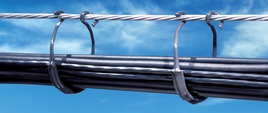 CAB Cable Ring and Saddles coated with durable, corrosion resistant PVC