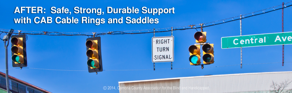 Safe strong durable cabling at traffic light with CAB Cable Rings and Saddles