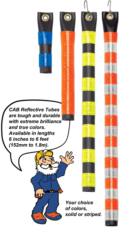 CAB Reflective Tubes in lengths 6 inches ot 6 feet