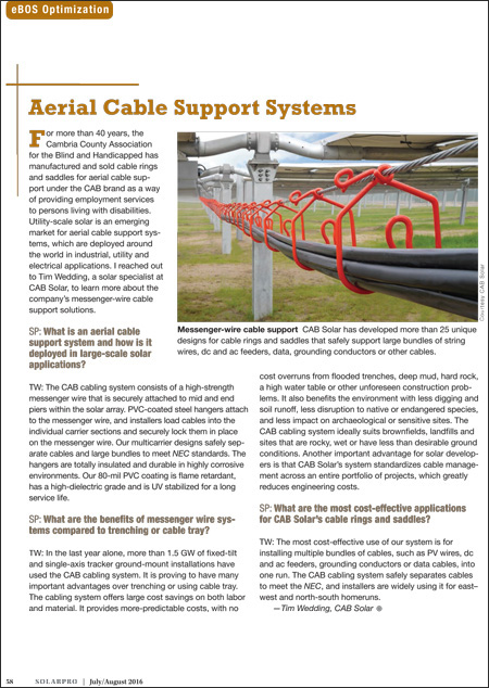 CAB Solar article in SOLARPRO magazine July-August 2016 issue