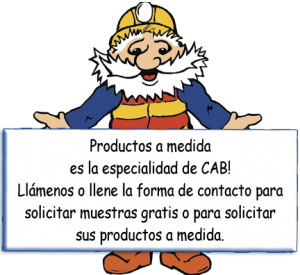 CABman holding Custom Manufacturing Sign in Spanish