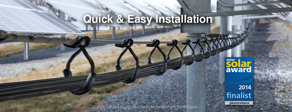 CAB Cable Rings and Saddles support wires in Solar PV array
