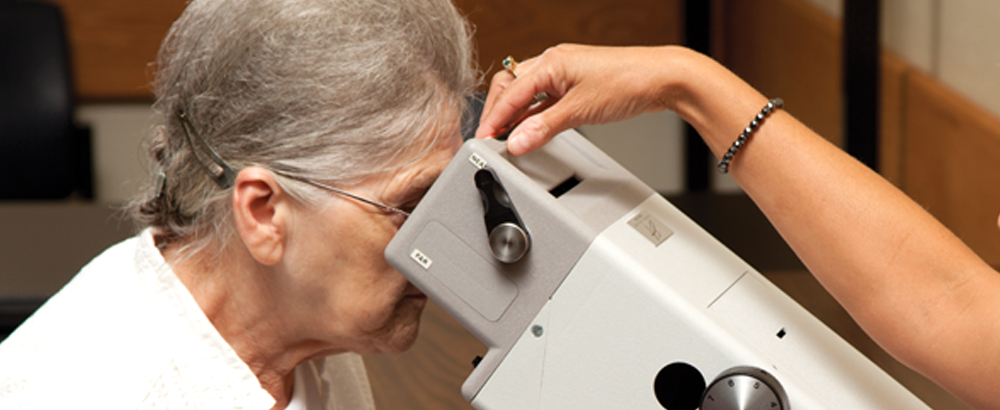 Older lady with Titmus Vision Screener