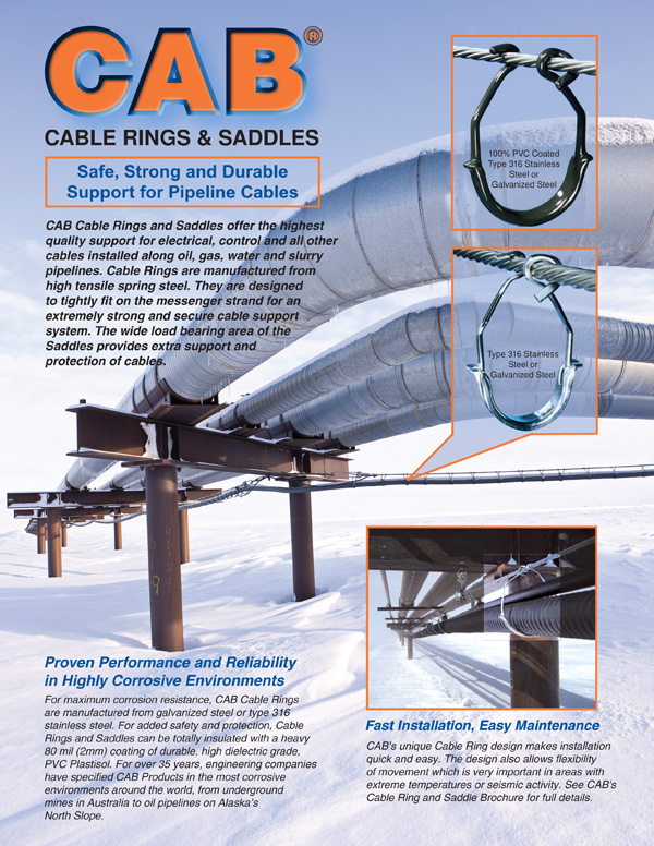 Cover of CAB Products Cable Rings and Saddles used in Pipeline ApplicationsSales Sheet