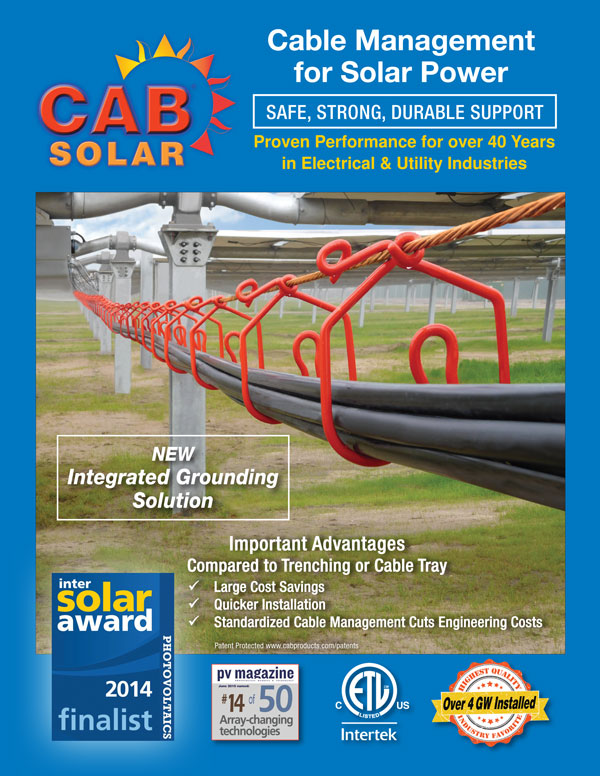 CAB Solar Cable Management now with Integrated Grounding Option Brochure Cover