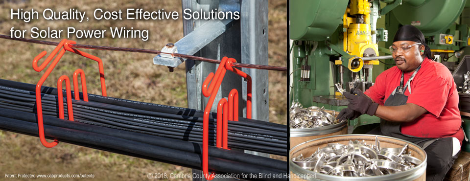 CAB Solar Cable Management System with Integrated Grounding
