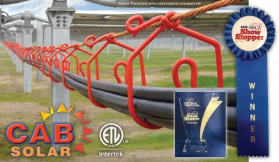 CAB's Solar Cable Management with Integrated Grounding Wins National Electrical Contractor's 2018 Showstopper Award