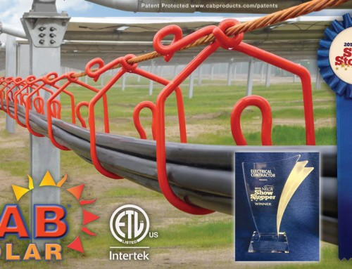 2018 NECA Showstopper Award goes to CAB's new Solar Cable Management System with Integrated Grounding
