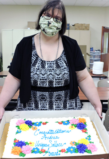 Andrea Brooks with decorated cake