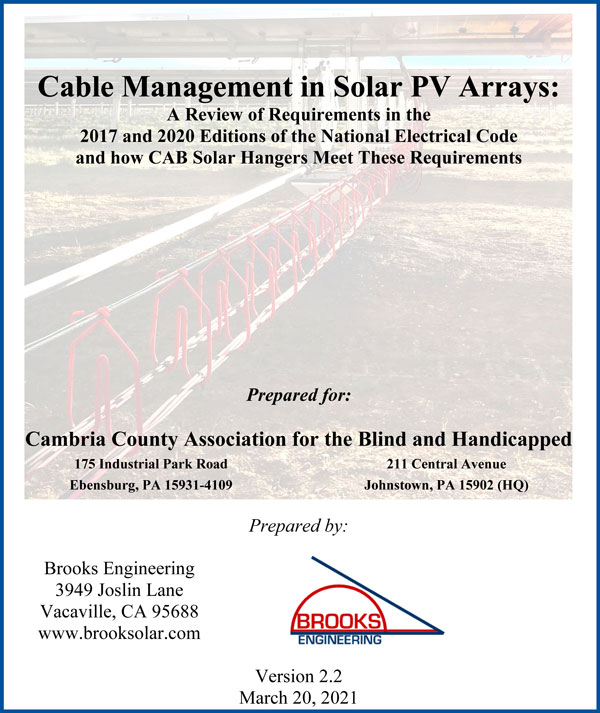 Cover of White paper by Bill Brooks Engineering on Solar PV Arrays, Version 2-2 Updated March 20-2021